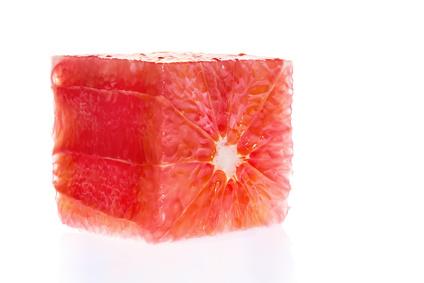 Grapefruitquadrat mit Kern